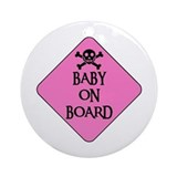 WARNING: BABY ON BOARD Ornament (Round)