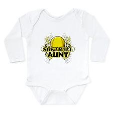 Softball Aunt (cross).png Long Sleeve Infant Bodys