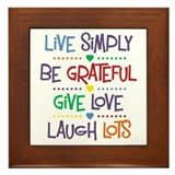 Live Simply Affirmations Framed Tile