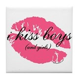 i kiss boys and girls Tile Coaster