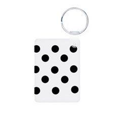 Black and White Polka Dot Aluminum Photo Keychain