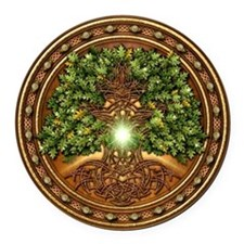 Sacred Celtic Trees - Oak Round Car Magnet