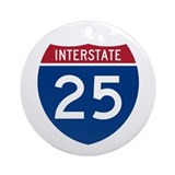 I-25 Highway Ornament (Round)