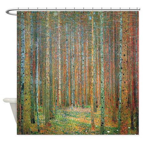 Gustav klimt pine forest shower curtain by iloveyou1 for Forest bathroom ideas