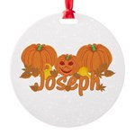 Halloween Pumpkin Joseph Round Ornament