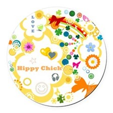 Vintage Chick Hippy Chick Round Car Magnet