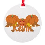 Halloween Pumpkin Kevin Round Ornament