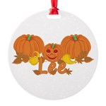 Halloween Pumpkin Lee Round Ornament