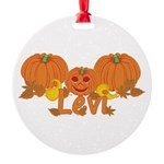 Halloween Pumpkin Levi Round Ornament