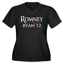 Romney - Ryan '12 Women's Plus Size V-Neck Dark T-