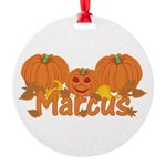 Halloween Pumpkin Marcus Round Ornament