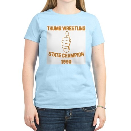 Thumb Wrestling Champ Women's Pink T-Shirt