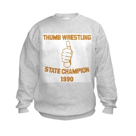 Thumb Wrestling Champ Kids Sweatshirt