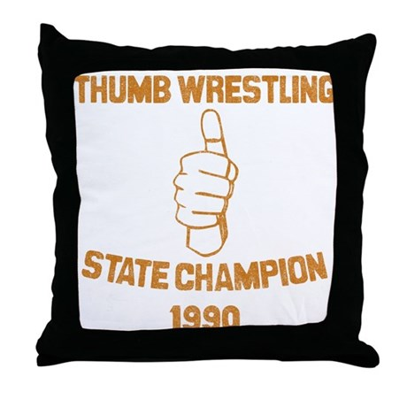 Thumb Wrestling Champ Throw Pillow