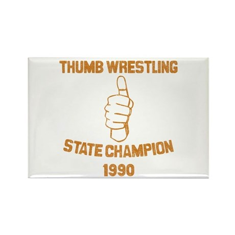 Thumb Wrestling Champ Rectangle Magnet