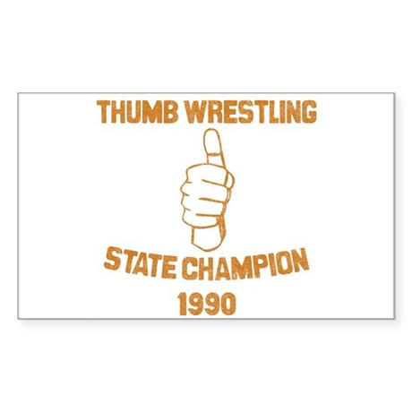 Thumb Wrestling Champ Rectangle Sticker
