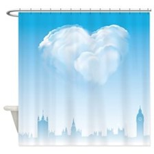 Blue London Love Shower Curtain