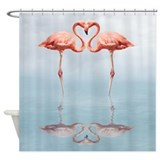 Pink Flamingos in Love Shower Curtain