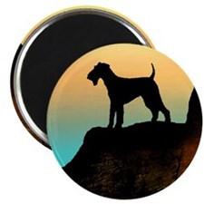 airedale terrier sunset cliff Magnet