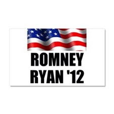 Romney Ryan 12, Waving Flag Car Magnet 20 x 12
