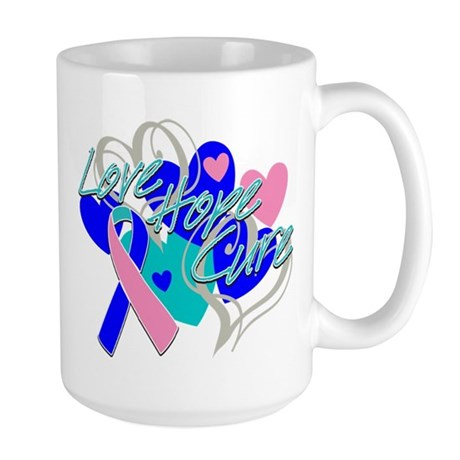 Thyroid Cancer Love Hope Cure Large Mug
