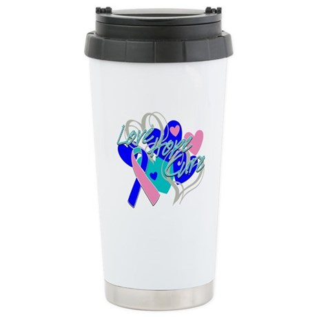 Thyroid Cancer Love Hope Cure Ceramic Travel Mug
