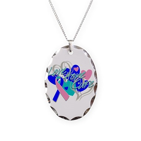 Thyroid Cancer Love Hope Cure Necklace Oval Charm