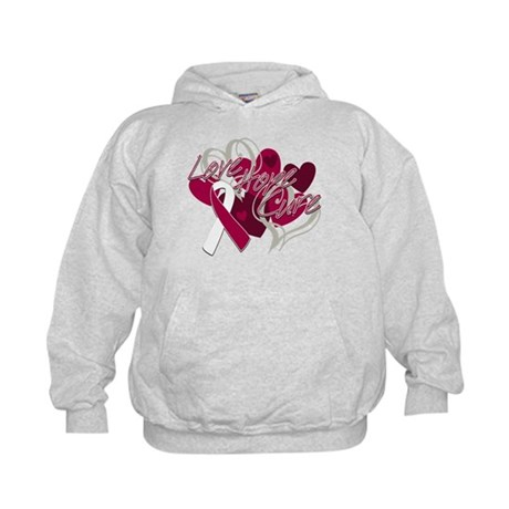 Throat Cancer Love Hope Cure Kids Hoodie