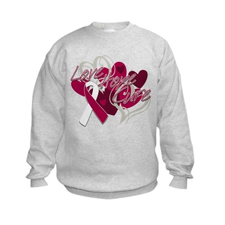 Throat Cancer Love Hope Cure Kids Sweatshirt