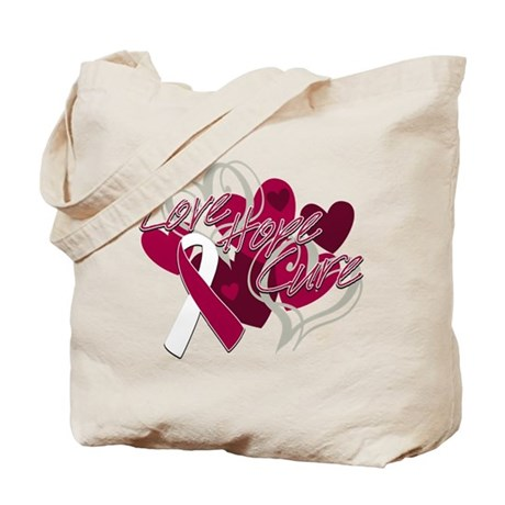 Throat Cancer Love Hope Cure Tote Bag
