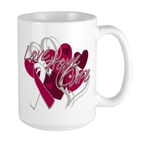 Throat Cancer Love Hope Cure Large Mug