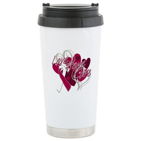 Throat Cancer Love Hope Cure Ceramic Travel Mug