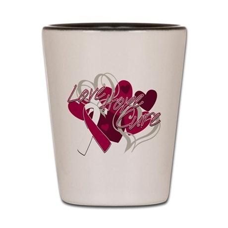 Throat Cancer Love Hope Cure Shot Glass