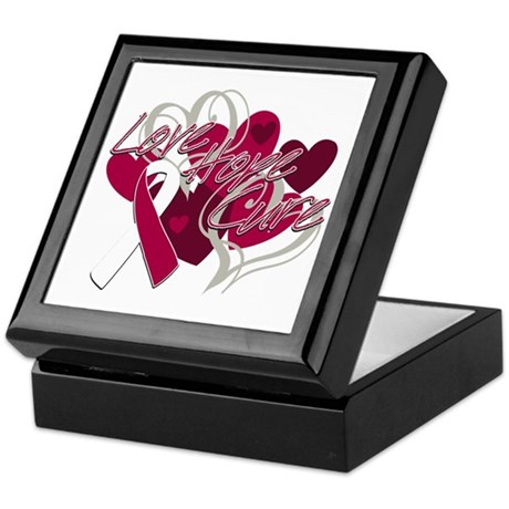 Throat Cancer Love Hope Cure Keepsake Box