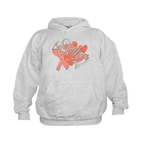 Uterine Cancer Love Hope Cure Kids Hoodie