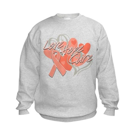Uterine Cancer Love Hope Cure Kids Sweatshirt