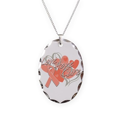 Uterine Cancer Love Hope Cure Necklace Oval Charm
