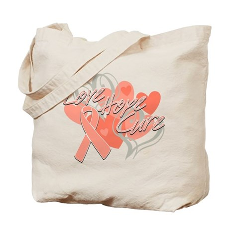 Uterine Cancer Love Hope Cure Tote Bag