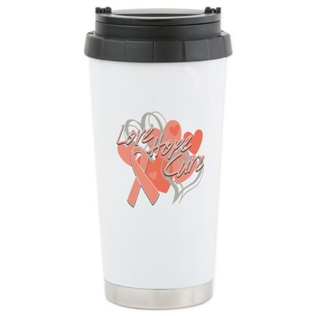 Uterine Cancer Love Hope Cure Ceramic Travel Mug