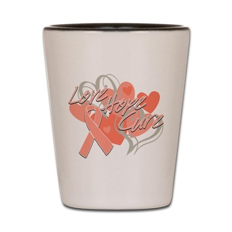 Uterine Cancer Love Hope Cure Shot Glass