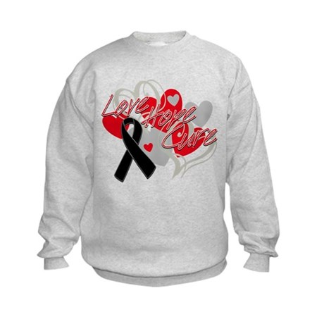 Skin Cancer Love Hope Cure Kids Sweatshirt