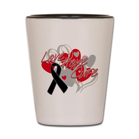 Skin Cancer Love Hope Cure Shot Glass