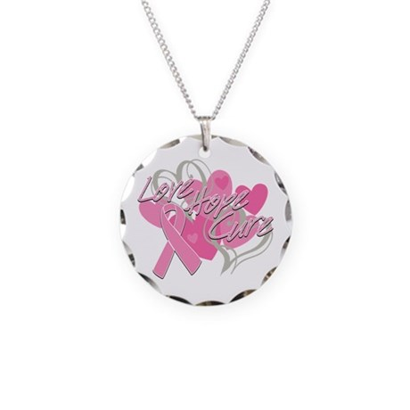 Breast Cancer Love Hope Cure Necklace Circle Charm