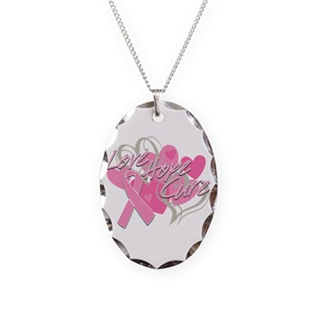 Breast Cancer Love Hope Cure Necklace Oval Charm