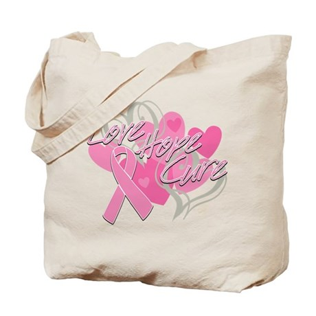 Breast Cancer Love Hope Cure Tote Bag