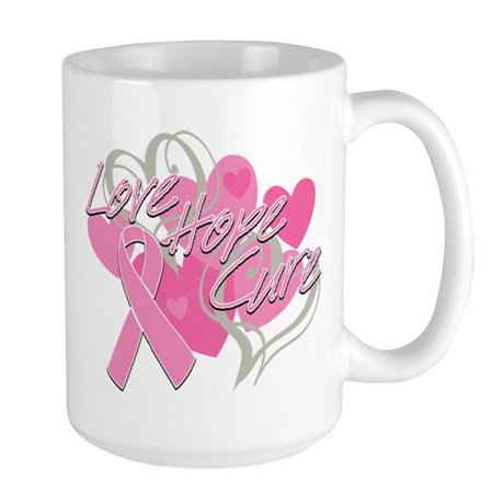 Breast Cancer Love Hope Cure Large Mug