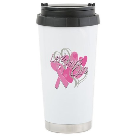 Breast Cancer Love Hope Cure Ceramic Travel Mug