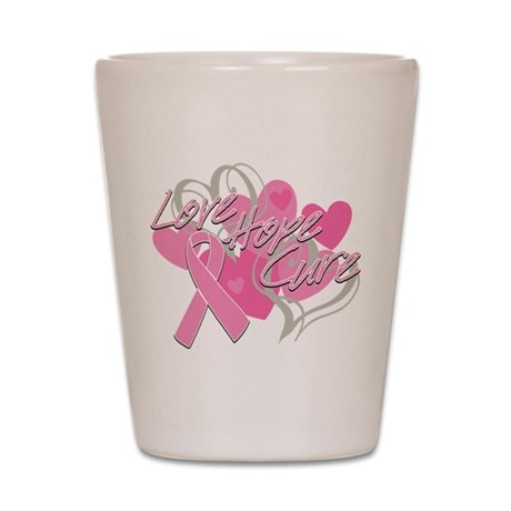 Breast Cancer Love Hope Cure Shot Glass