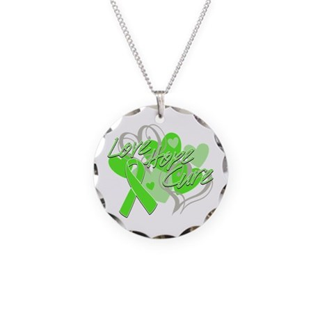 Lymphoma Love Hope Cure Necklace Circle Charm