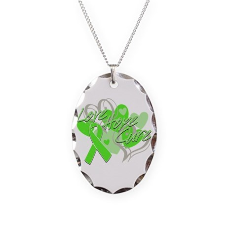 Lymphoma Love Hope Cure Necklace Oval Charm